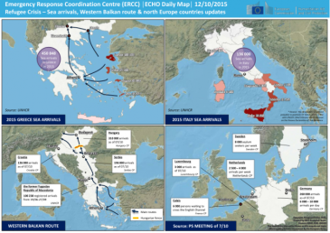 These are some numbers updated by aid agencies in October. Check out a larger version here: http://reliefweb.int/map/world/refugee-crisis-sea-arrivals-western-balkan-route-north-europe-countries-updates-echo-daily